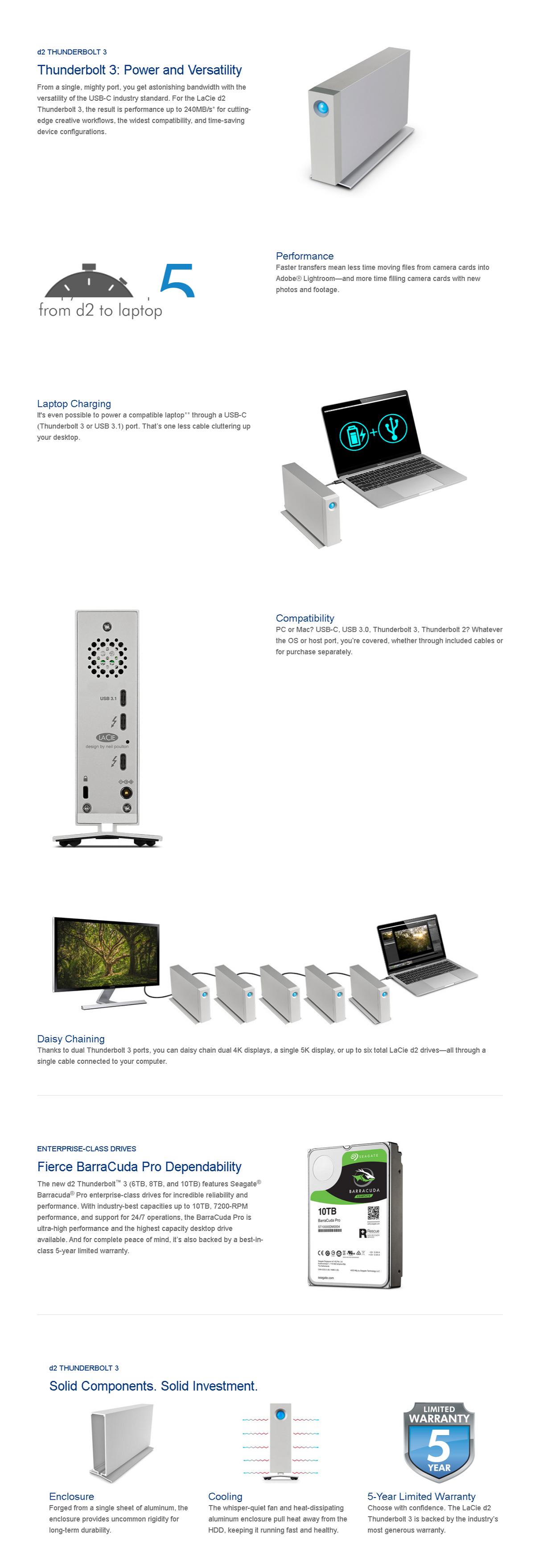 LaCie 6TB d2 Thunderbolt3 USB-C Desktop Drive