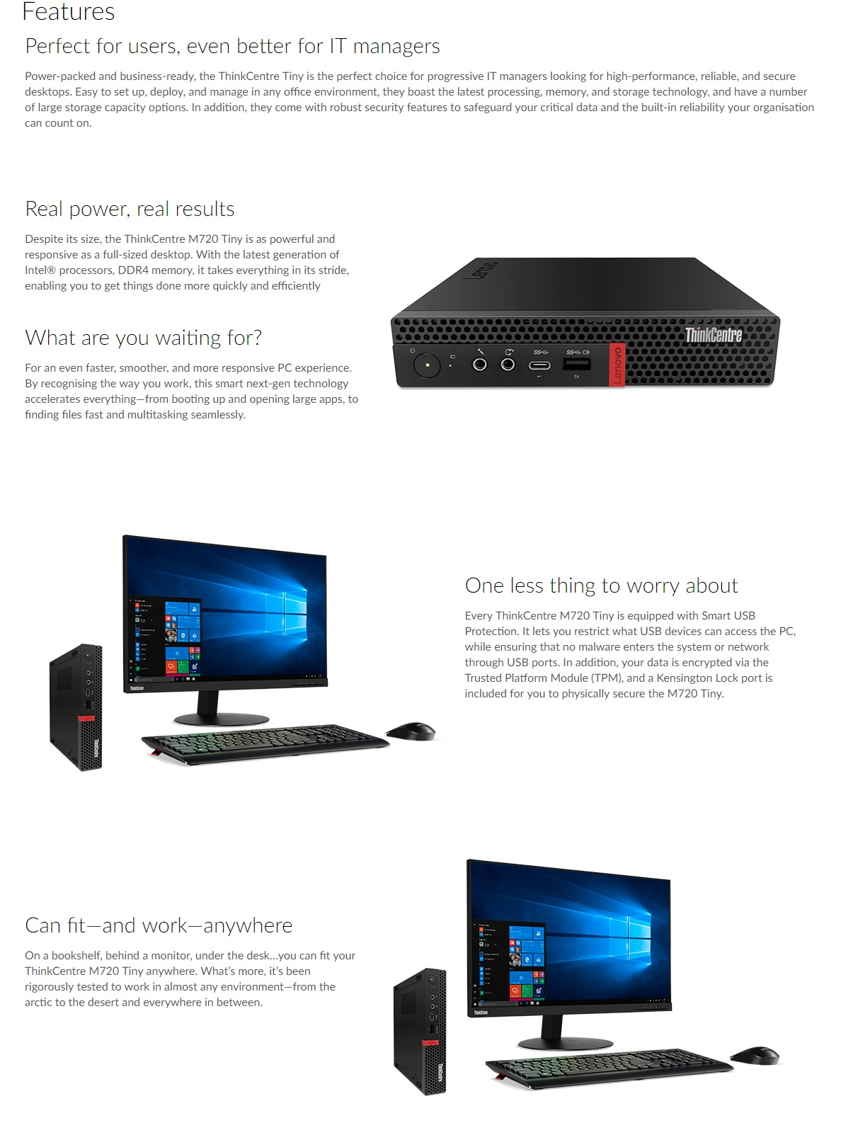 Lenovo ThinkCentre M720 Tiny i5-8400T 8GB 256GB SSD W10P Desktop PC