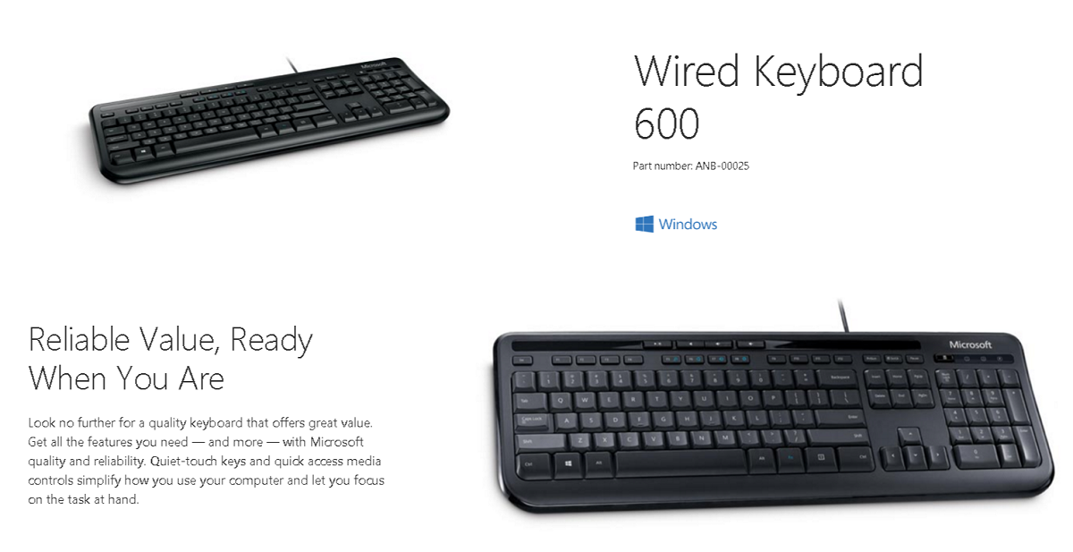 microsoft 600 wired keyboard anb 00025 shopping express online. Black Bedroom Furniture Sets. Home Design Ideas