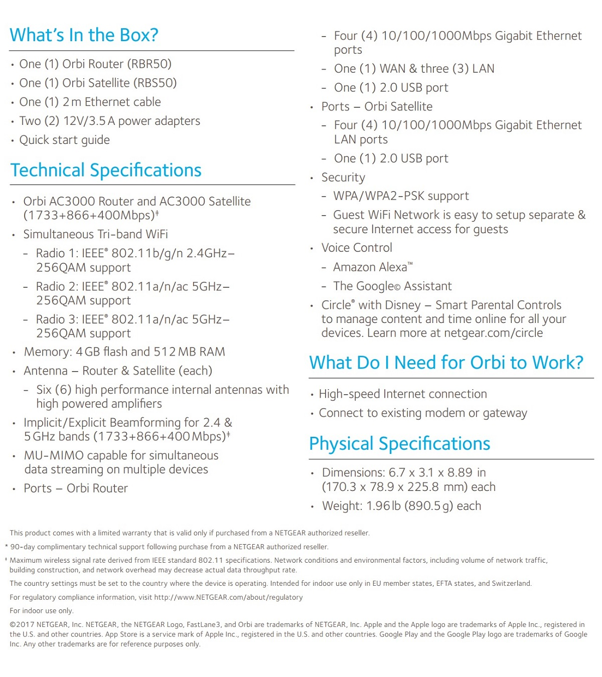 Details about Netgear RBK50 Orbi AC3000 Tri-Band Gigabit Router Wireless  Mesh Home WiFi System