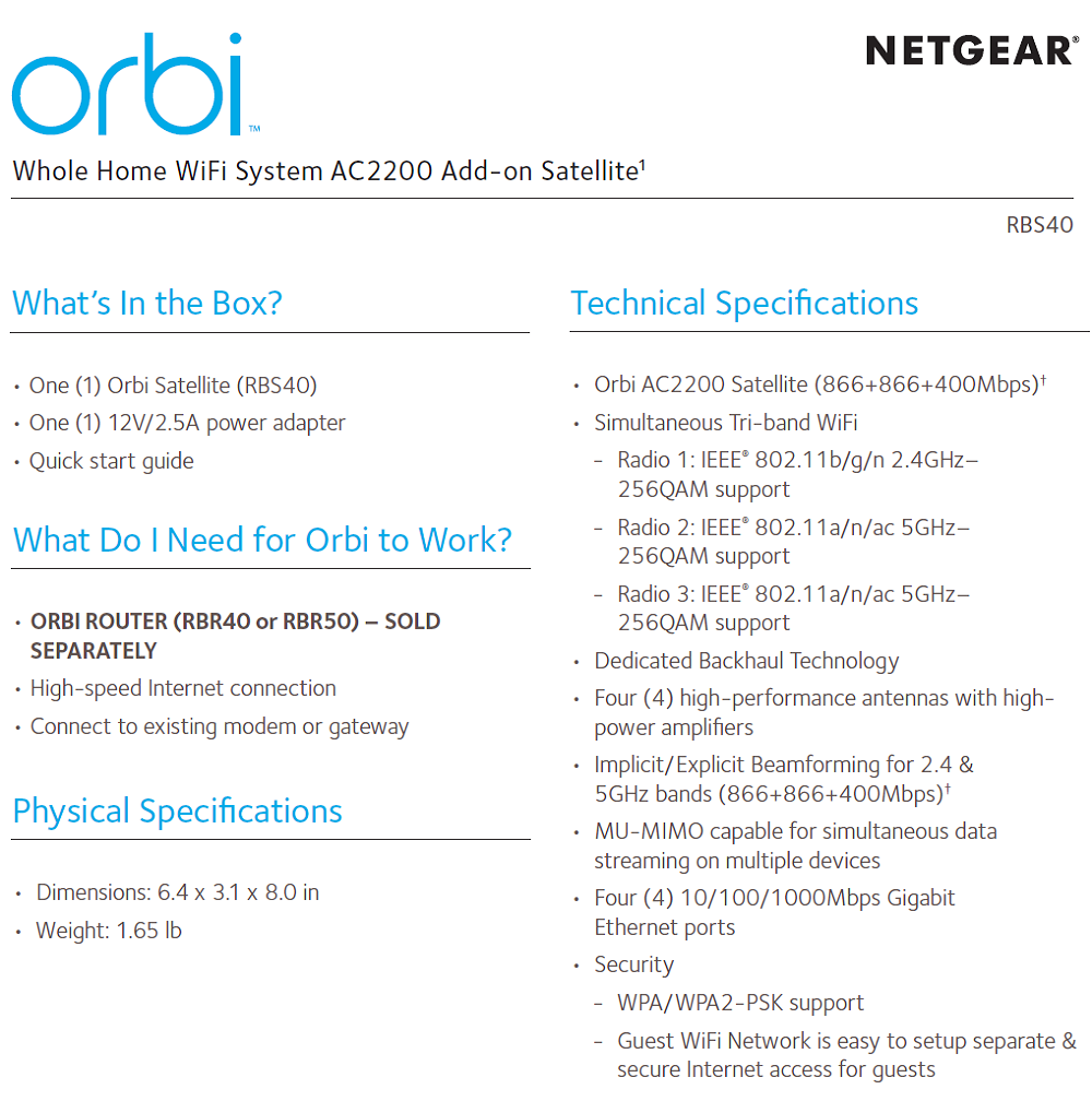 Netgear Orbi RBS40 WiFi System Add-on Satellite
