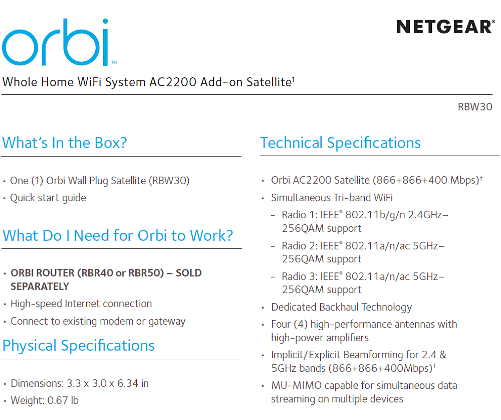 Details about Netgear Orbi RBW30 Whole Home WiFi System AC2200 Add-on
