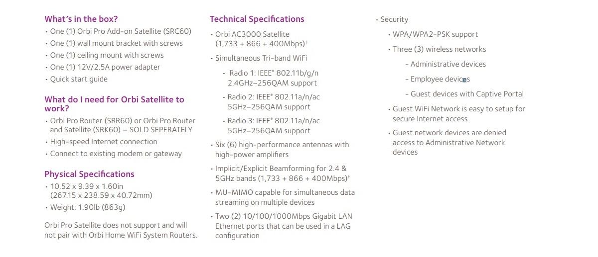 Netgear Orbi Pro SRC60 AC3000 Tri-band Ceiling Mesh Add-on Satellite