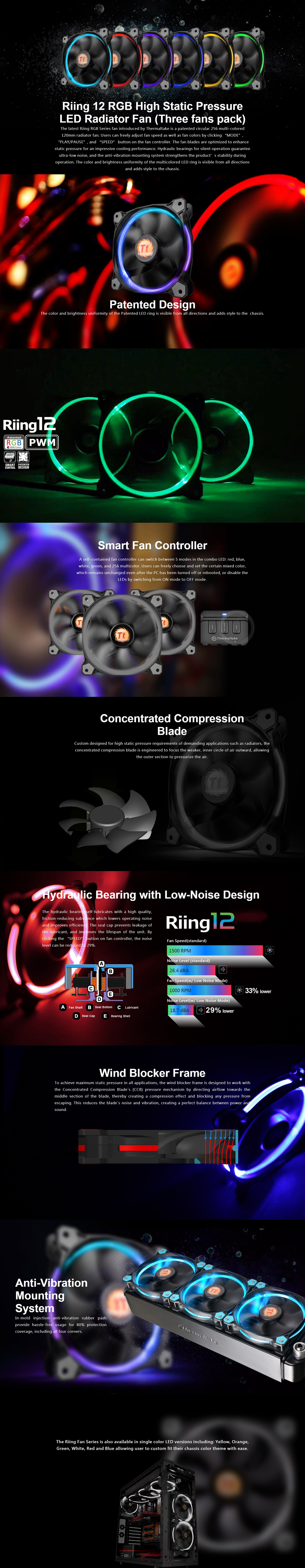 Thermaltake Riing 12 Rgb High Static Pressure Radi Cl F042 Pl12sw B Led 3 Fans Pack Features