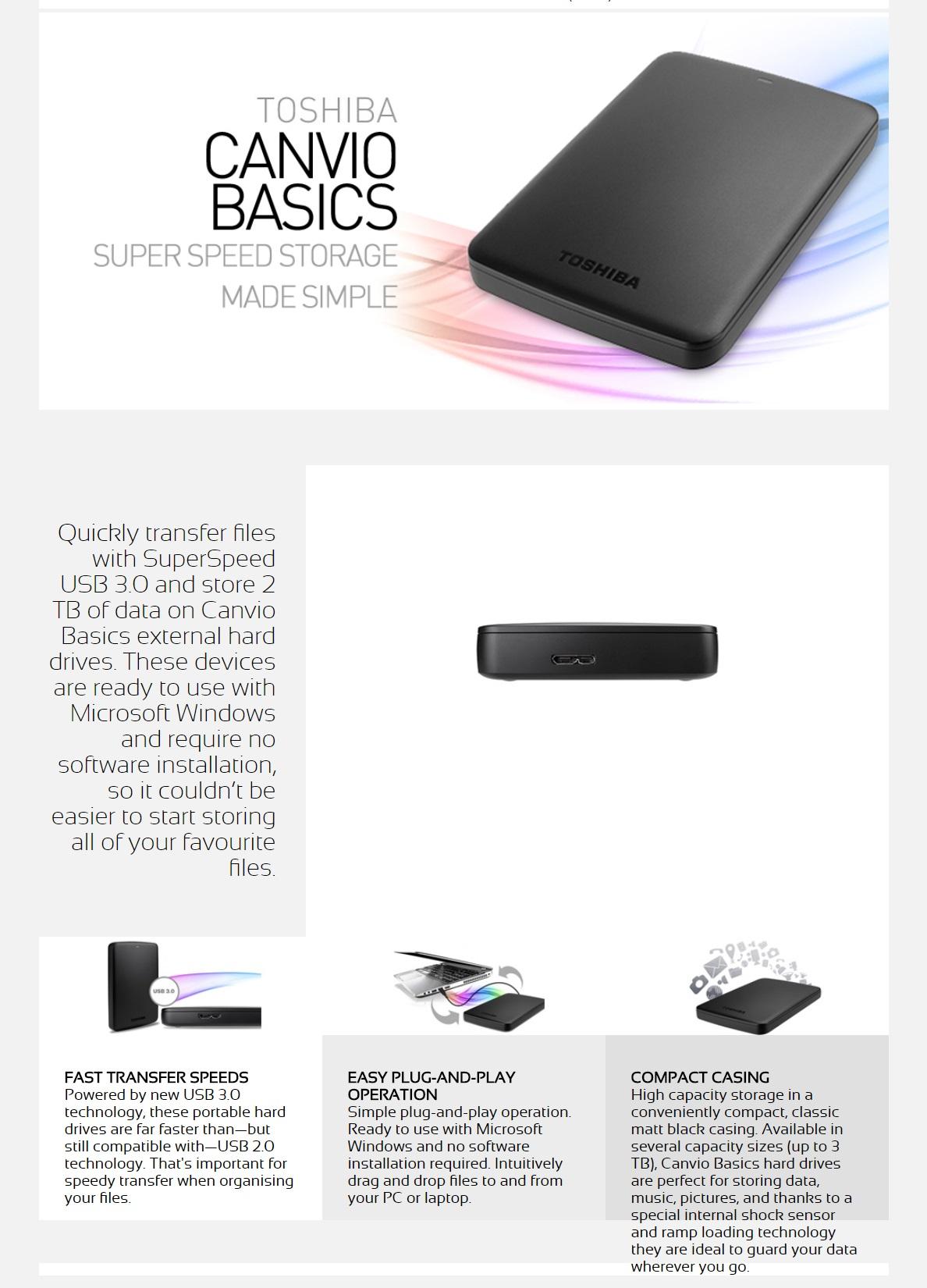 Toshiba 3tb Canvio Basics Portable Hdd Black Hdtb330ak3ca