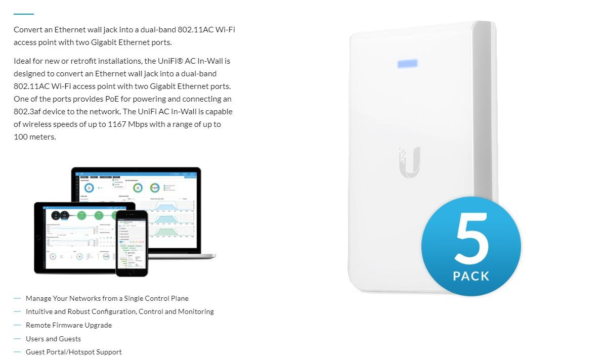 Ubiquiti UniFi UAP-AC-IW AC In-Wall Dual-Band Access Point 5 Pack