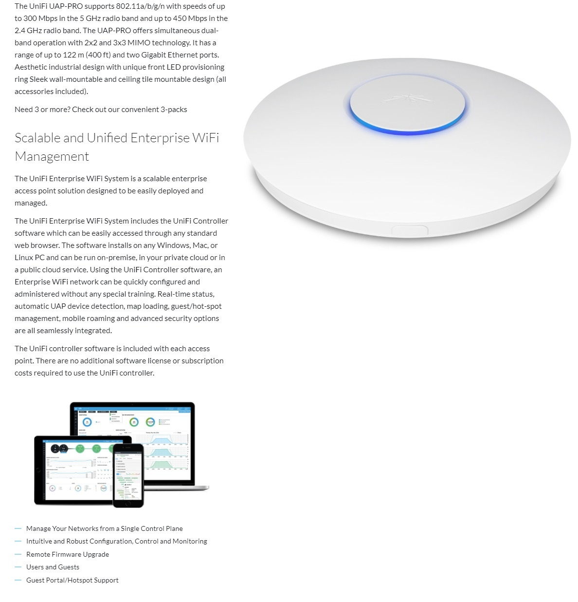 Ubiquiti UAP-PRO Access Point 3 Pack