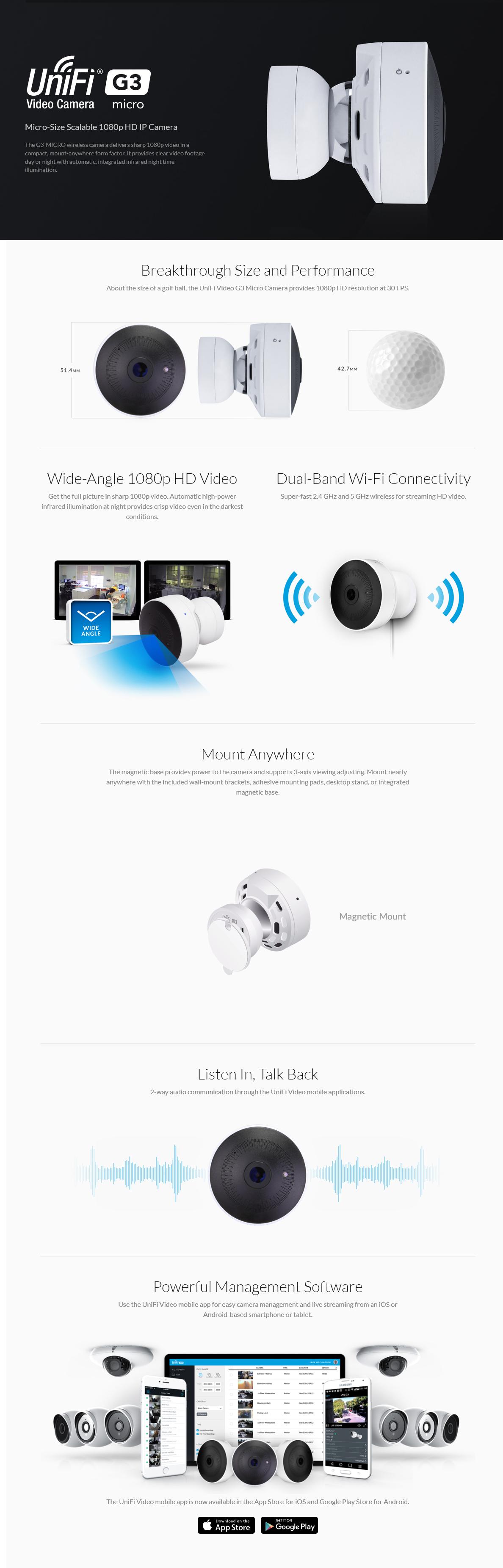 Ubiquiti UniFi G3 Micro 1080p Full HD IP Surveillance Video Camera