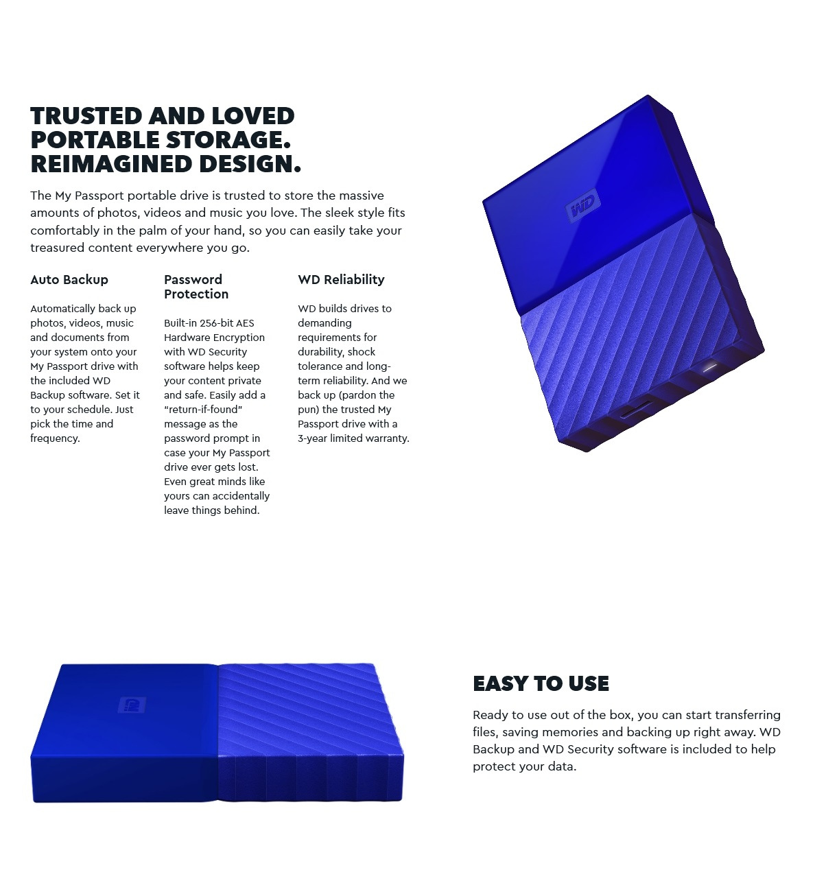 WD My Passport 2TB USB 3 0 Blue Portable Drive