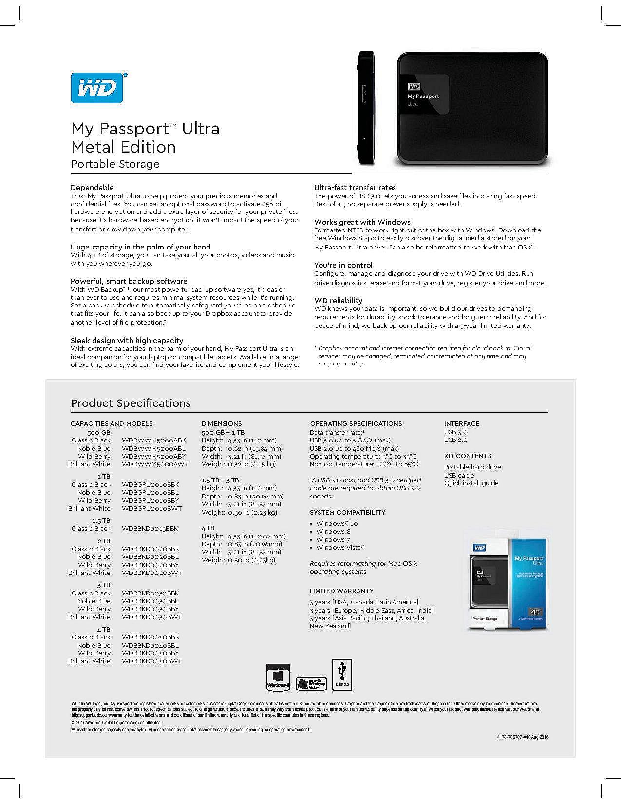 Western Digital WD My Passport Elements 1TB 2TB 3TB 4TB