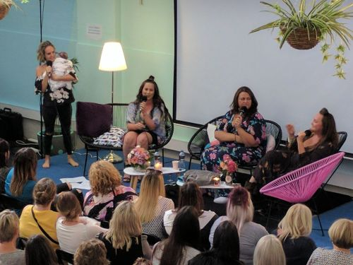 I'm holding baby Florence, The Young Mummy, Chrissie Swan and Kate Langbroek having a chat