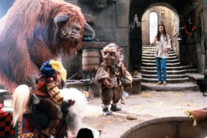 Ambrosius, Sir Didymus, Ludo, Hoggle and Sarah working together to rescue Toby from The Goblin King.