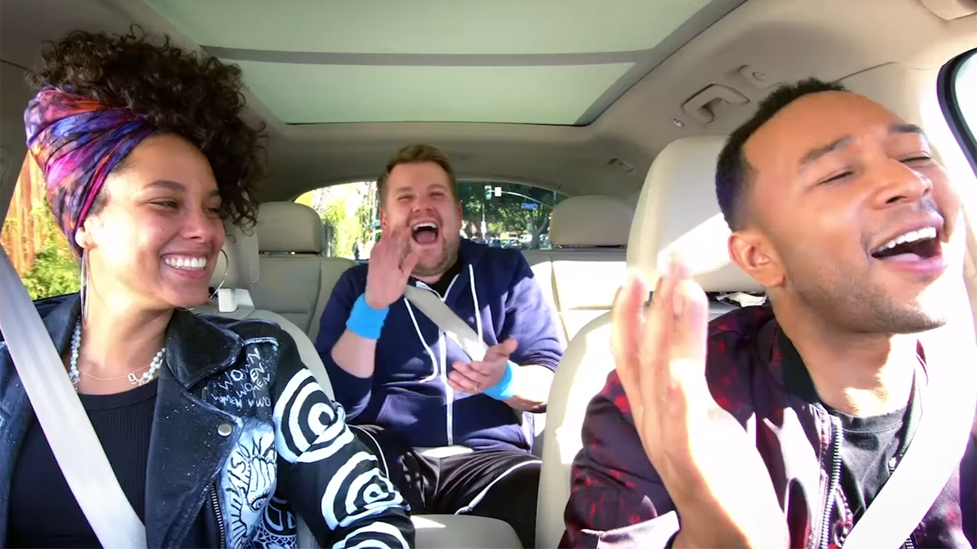 Carpool Karaoke: James Corden with Alicia Keys and John Legend.