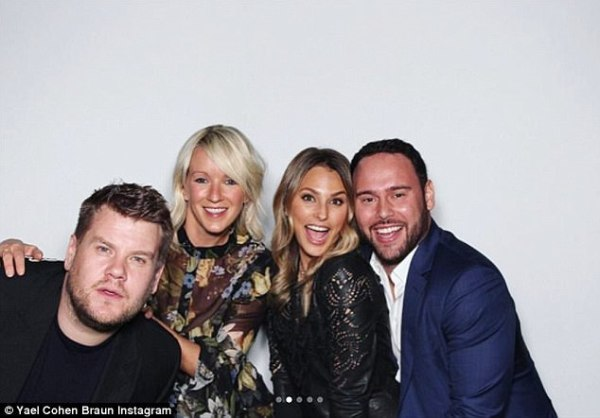 James Corden and wife Julia pose with Talent Manager Scooter Braun and his wife, Yael Cohen.