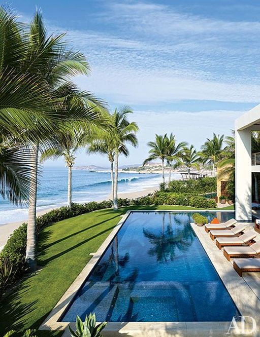 The pool at Cindy Crawford and Rande Gerber's Mexico home.  Image: Architectural Digest