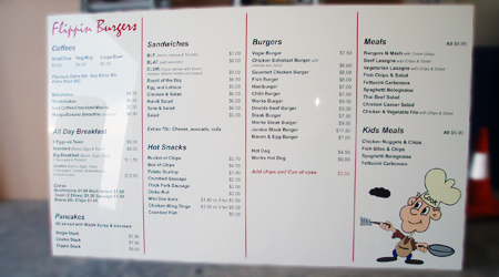 menu boards for a podiatry office