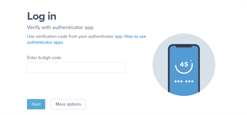 A screenshot of a user entering a verification code as requested by the Authenticator app setup flow