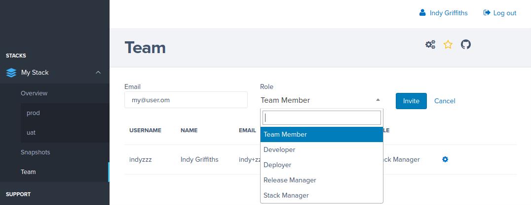 Team page invite