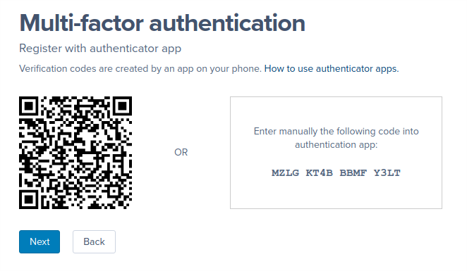 A screenshot of the barcode and secret key shown in the Authenticator app setup flow