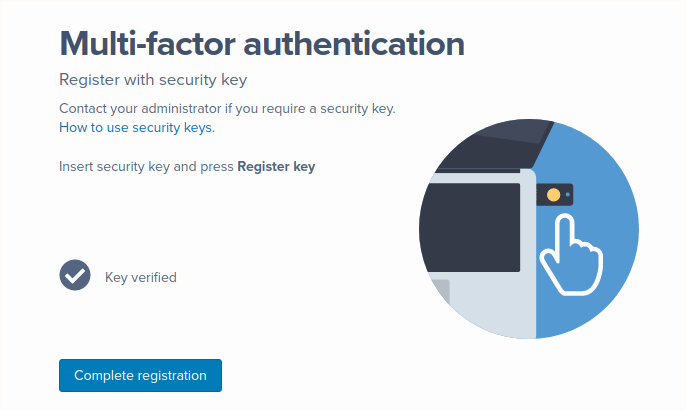 A screenshot of a successful security key verification in the Security key setup flow