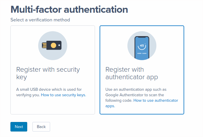 A screenshot of a user selecting the Authenticator app option in the Select Method step of the MFA setup flow