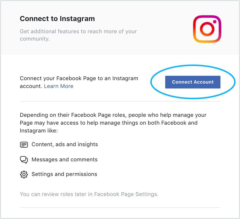 Connect Instagram Account to Facebook UI