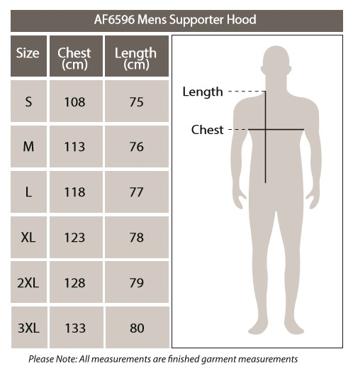 Sizing chart for Geelong Cats AFL Mens Pullover Hood Hoody