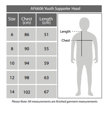 Sizing chart for Geelong Cats 2018 AFL Youth Logo Hoody
