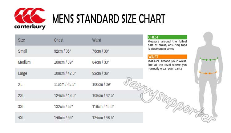 Sizing chart for NSW Blues 2020 Mens State of Origin Captains Run Drill Top