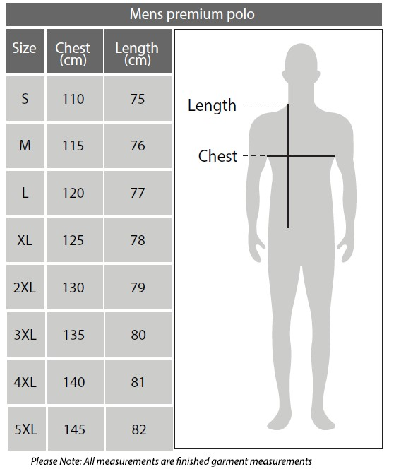 Sizing chart for Geelong Cats 2018 AFL Winter Premium Polo Shirt