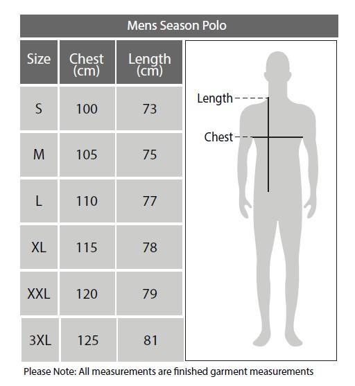 Sizing chart for Geelong Cats 2018 AFL Season Polo Shirt