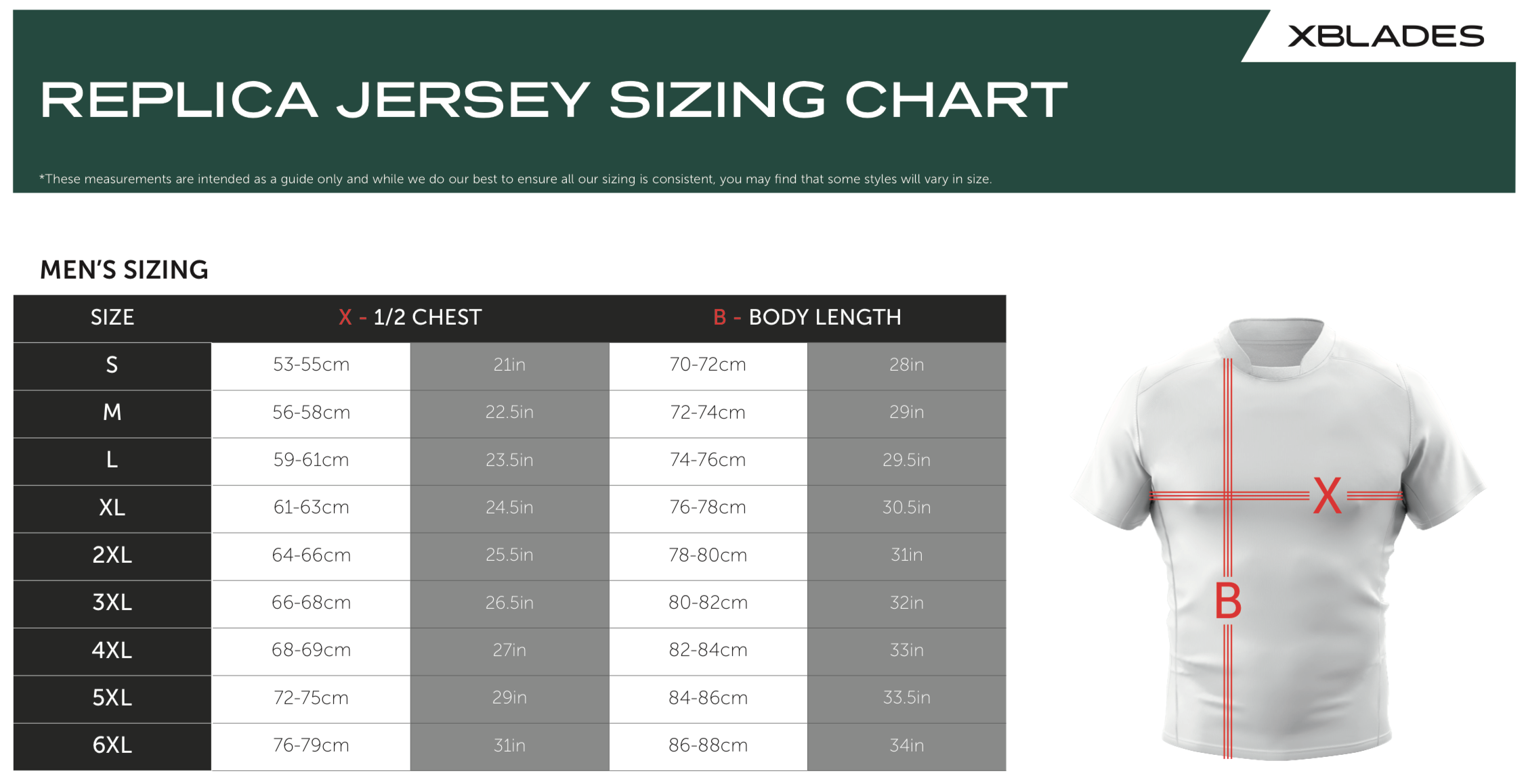 Sizing chart for Cronulla Sharks 2018 NRL Indigenous Jersey