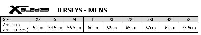 Sizing chart for Cronulla Sharks 2017 NRL Mens Auckland 9s Nines Jersey
