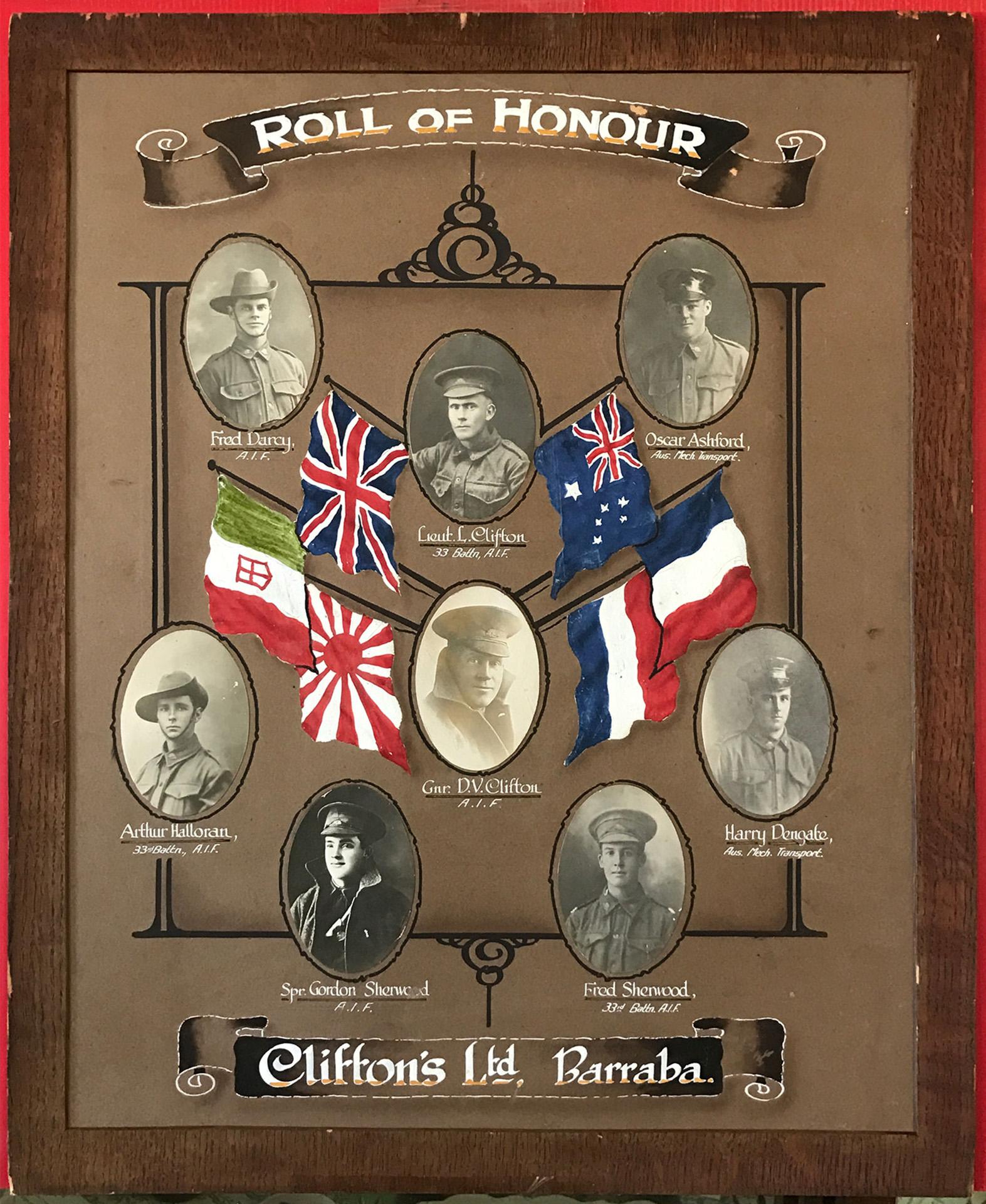 Clifton's Ltd Barraba First World War Roll of Honour