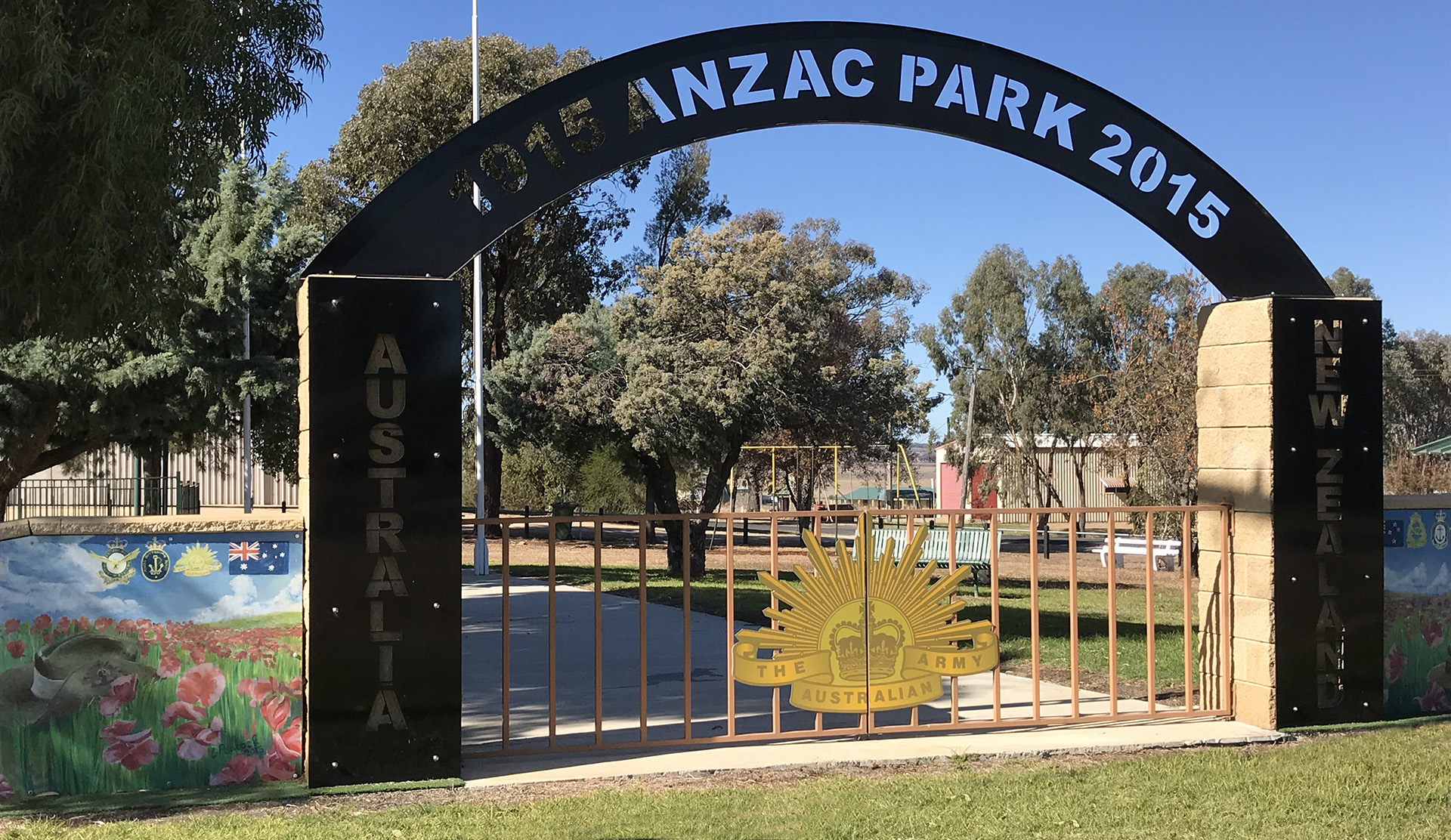 Delungra Anzac Park and Memorial Gates. Provided by Graham Wilson, 2021.
