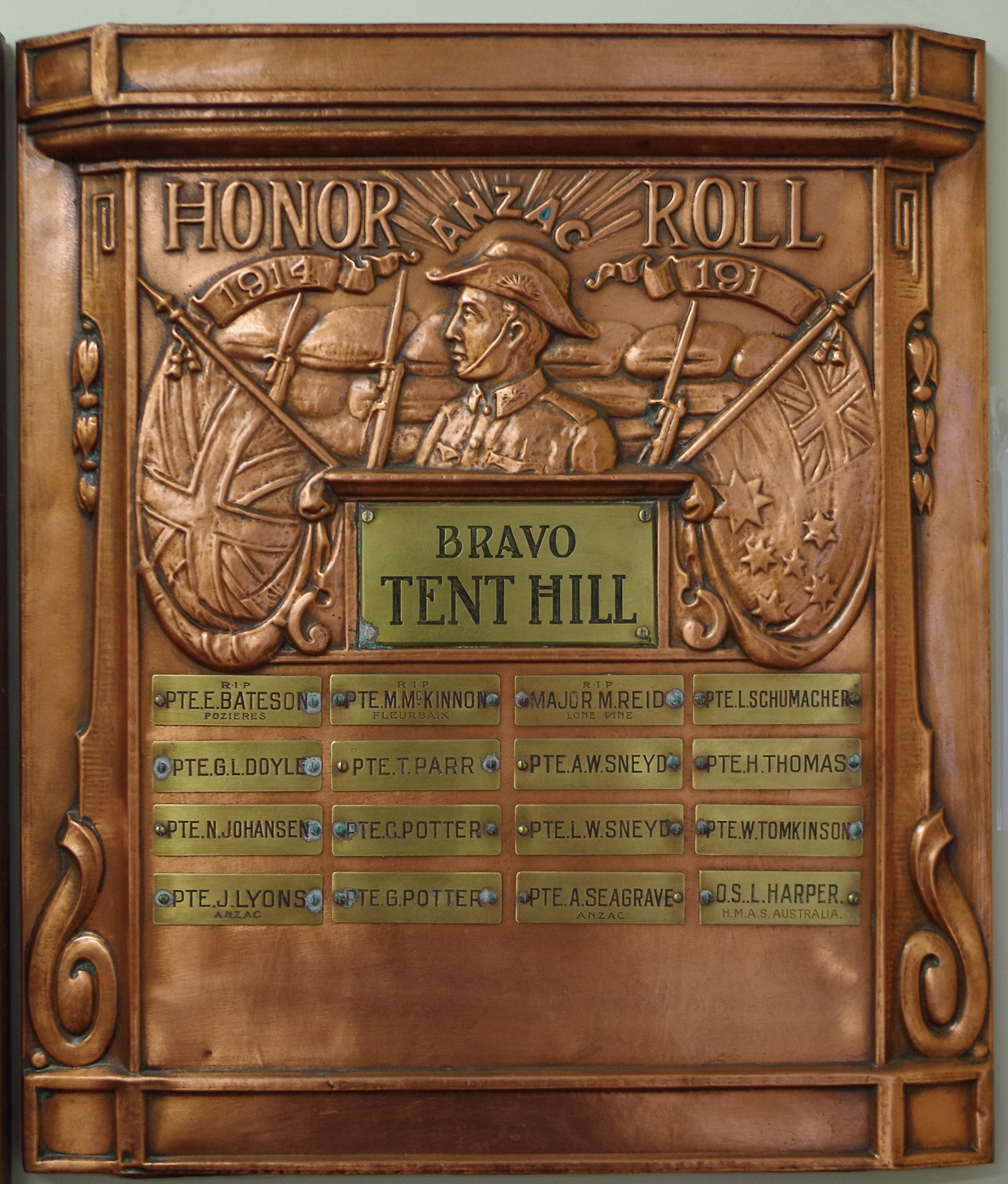 Tent Hill First World War Honour Roll. Photograph by Bernadette Walker. Provided by Graham Wilson, 2020.
