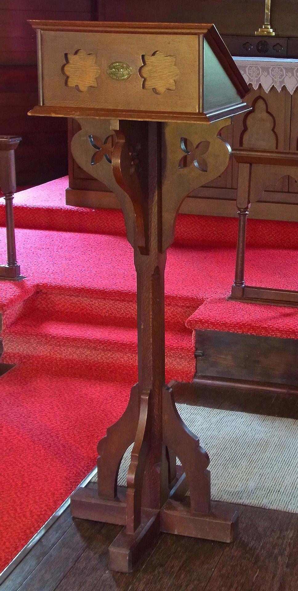 Howard and Arthur Deards Memorial Lectern, part of the Holy Trinity Anglican Church First World War Memorials, Uki