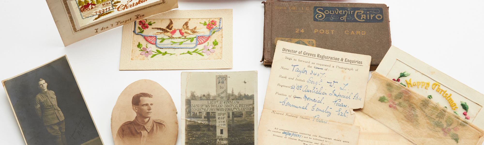 A collection of photographs and postcards sent by WilliamTaylor who served with the AIF during the Great War