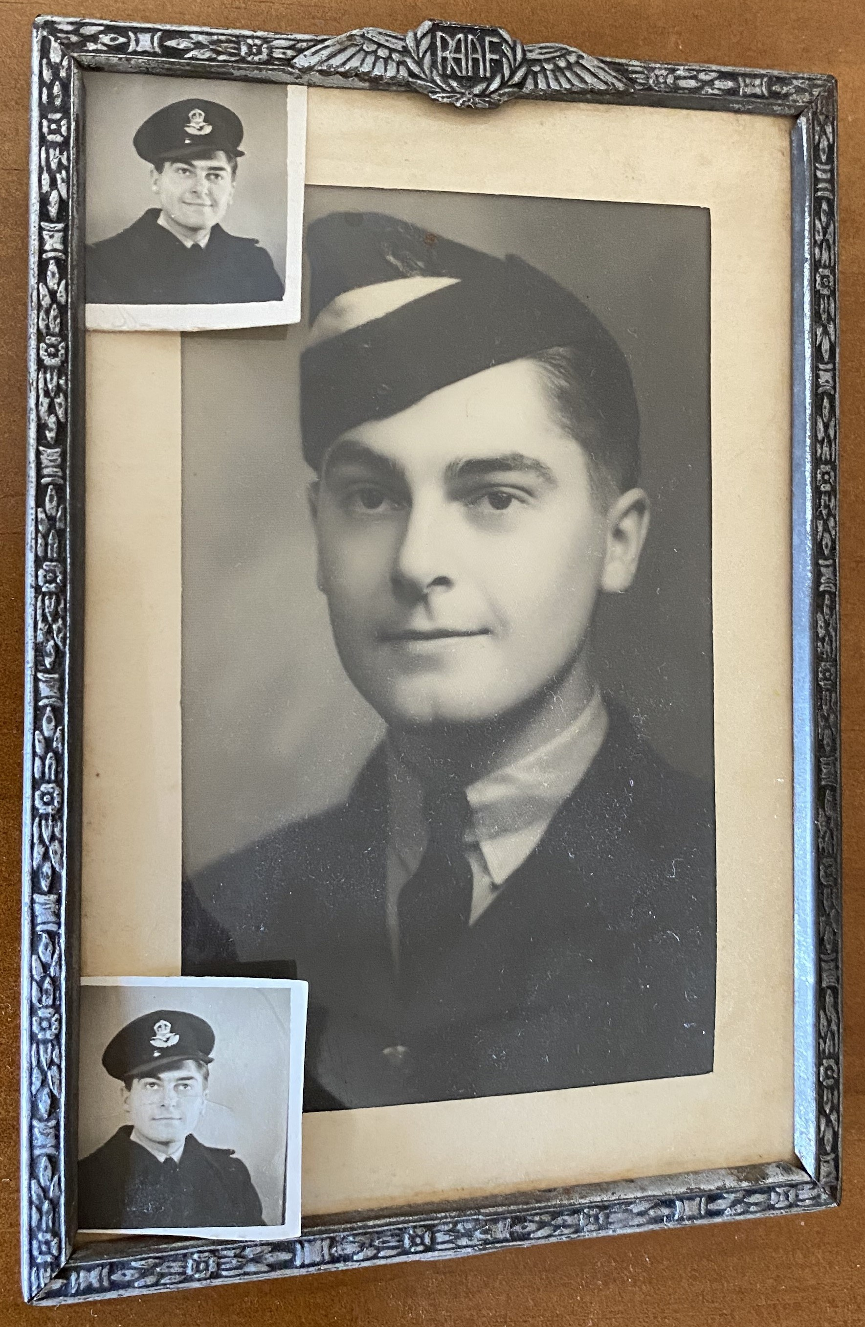 Three black and white photo portraits of Robert Marshall during his service