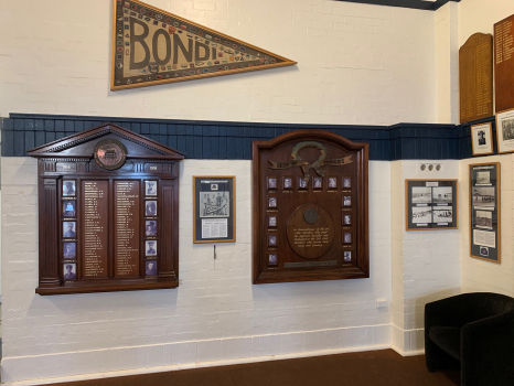 Bondi Surf Bathers' Life Saving Club World War I Honor Roll, as part of larger display with other honour board