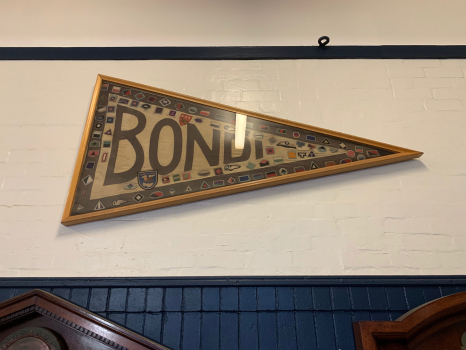 Bondi Surf Bathers' Life Saving Club World War I Honor Roll, close-up of flag in display