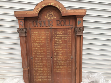 Henry Bull & Co. Limited World War I Honour Roll, front view