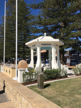 Terrigal Foreshore War Memorial, rotunda and sculpture, from side, with wall and obelisk