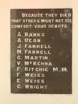 Terrigal Foreshore War Memorial, plaque under sculpture