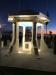 Terrigal Foreshore War Memorial, rotunda and sculpture, at angle, nighttime