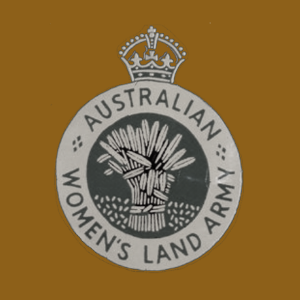 Bronze banner with black and white Australian Women's Land Army logo