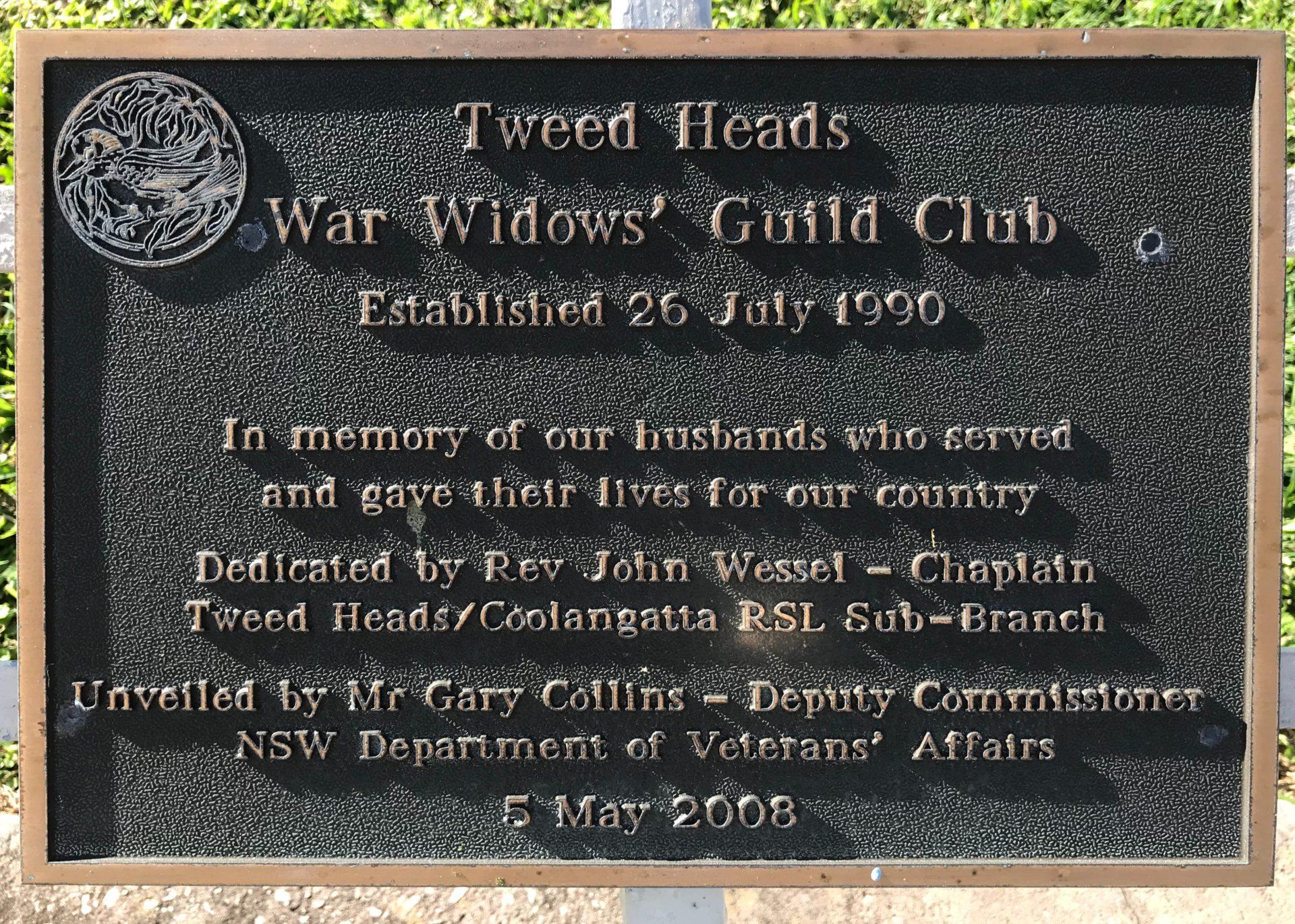Tweed Heads War Widows Guild Club Memorial Plaque