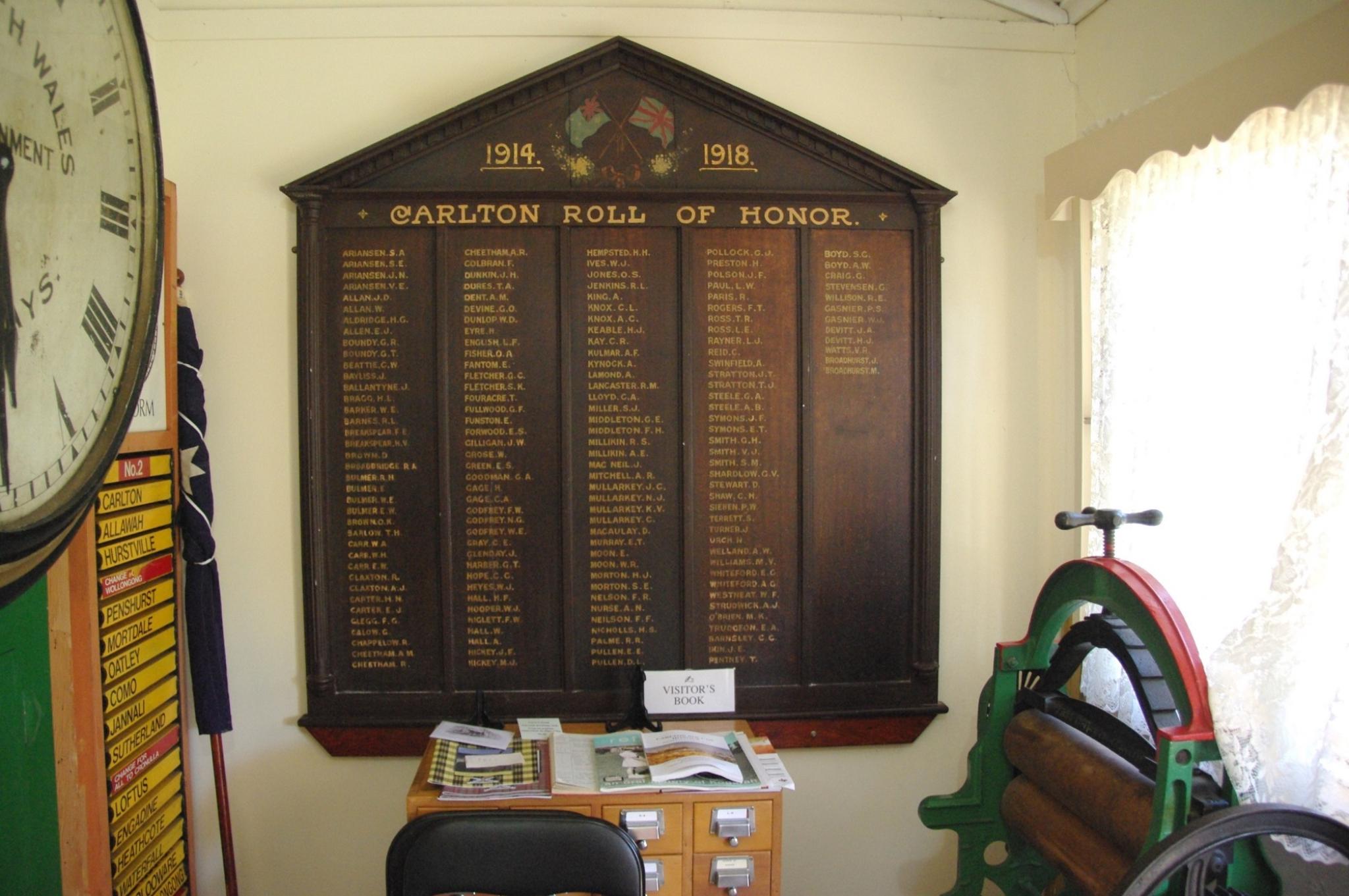 Carlton Roll of Honour, Carss Park | NSW War Memorials Register