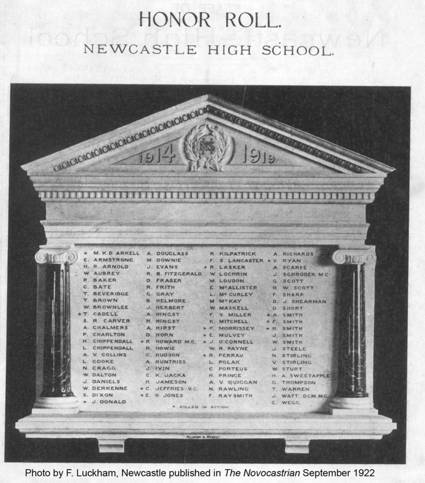 Newcastle High School Honour Roll 1914-1918 | NSW War Memorials Register