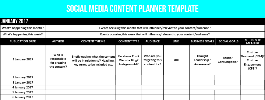 Social ROI Part II Implementing A Social Media Marketing Plan - Facebook posting schedule template